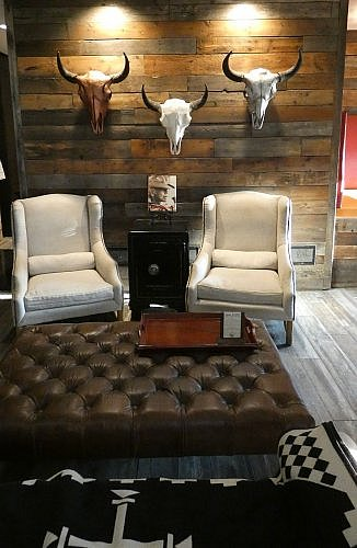 Lobby at the Firebrand Hotel in Whitefish, Montana, walking distance to local restaurants and a good base for skiing or visiting Glacier National Park