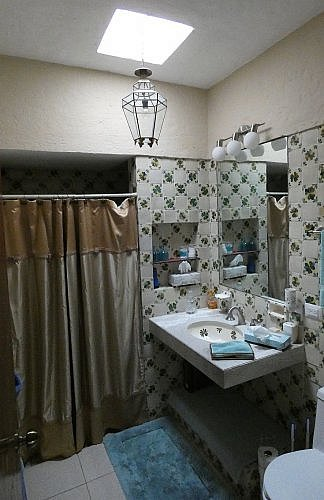 Mexican bathroom with skylight in San Miguel de Allende guesthouse