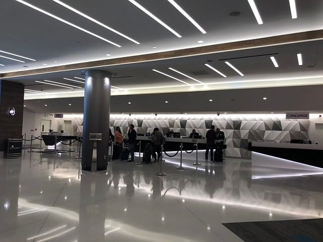 San Francisco Marriott Marquis hotel lobby with reception guest check-in.