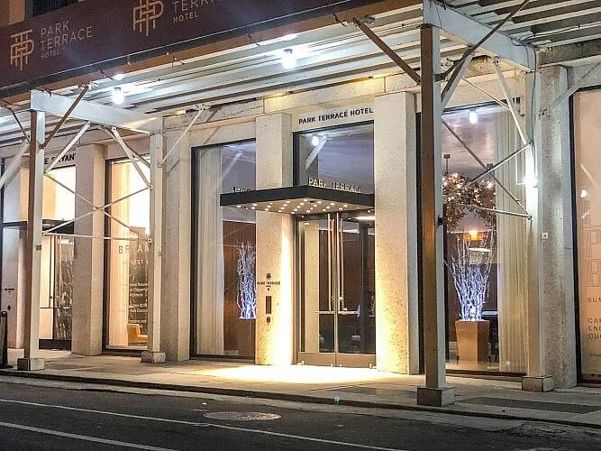 Entrance to Park Terrace Hotel in Manhattan