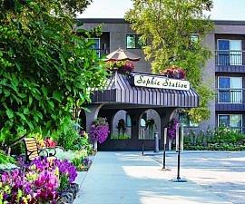 Front entrance to Sophie Station in Fairbanks, Alaska