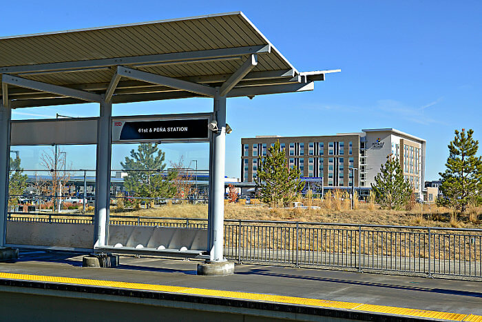 The Hyatt Place Pena Station is a short walk to The A-Line RTD public transportation to and from DIA and downtown Denver.
