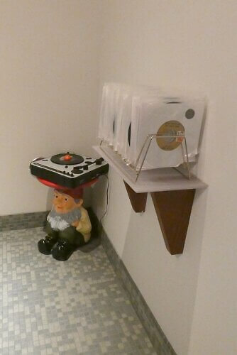 record player in the bathroom Boise hotel
