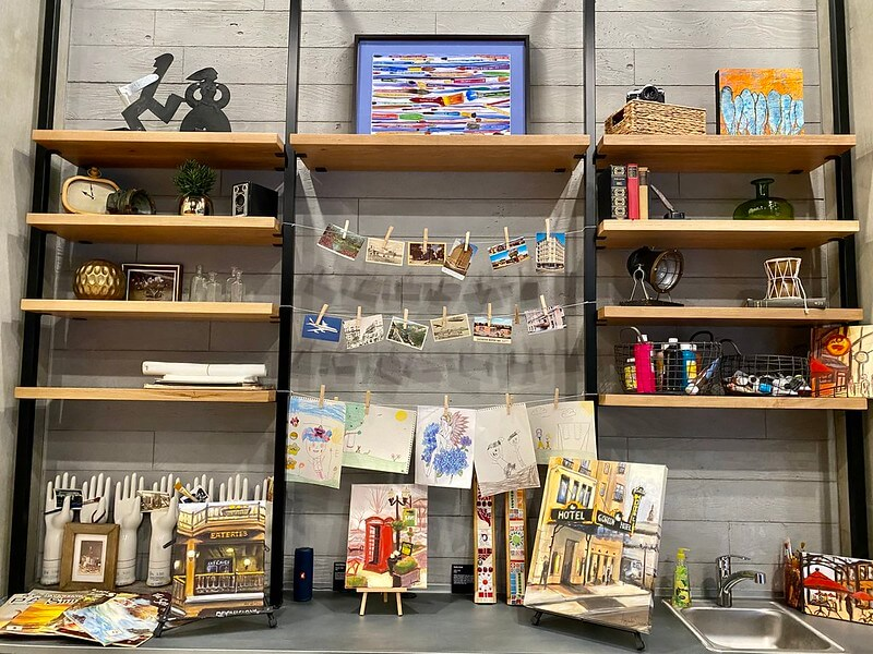 Gordon Hotel art bar offers art supplies for artists to create art.