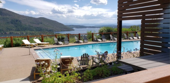 Grand Lake Lodge's pool gives  the wow to the view the lake and the town of Grand Lake. Photo: Diana Rowe