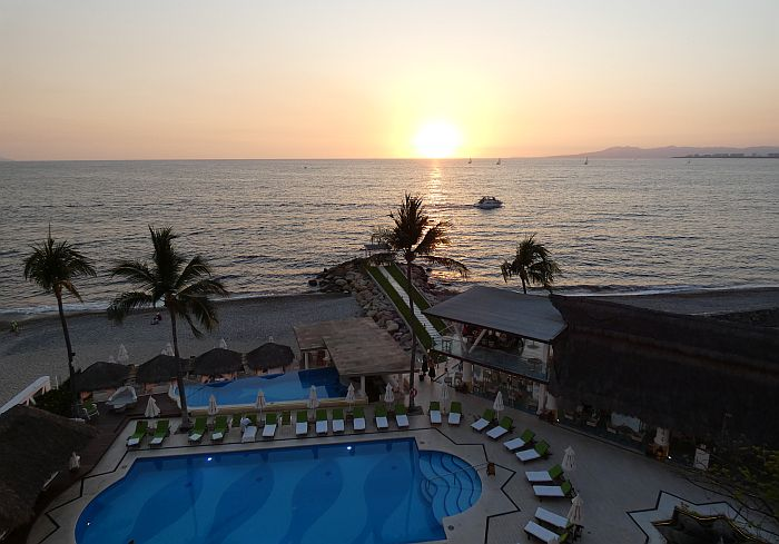 Villa Premiere resort room view at sunset
