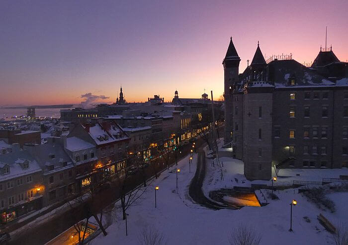 View from Monsieur Jean boutique hotel historic Quebec City